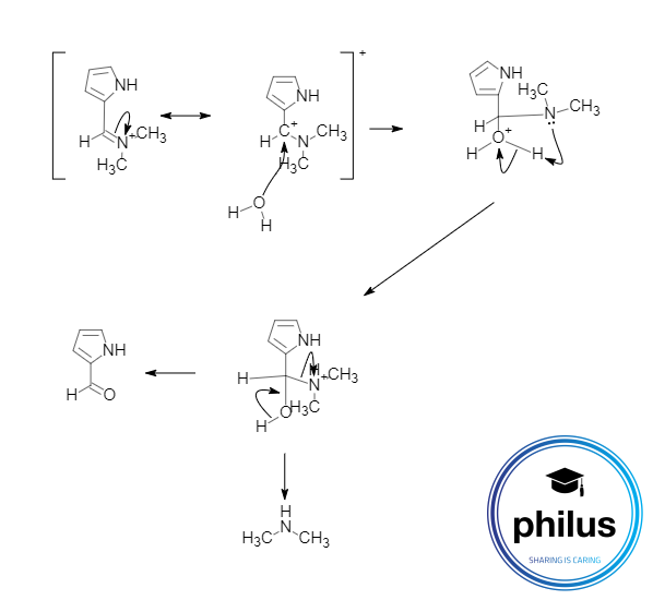 Hydrolyse in einer Vilsmeier-Haack-Reaktion
