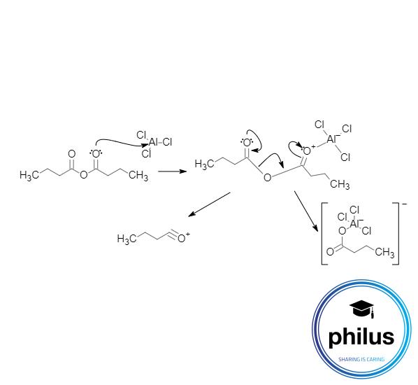 Komplexbildung einer Lewis-Säure mit einem Carbonsäureanhydriden zur Acyliumionbildung