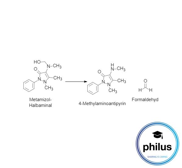Metamizol-Halbaminal-Kondensation zu 4-MAA und Formaldehyd