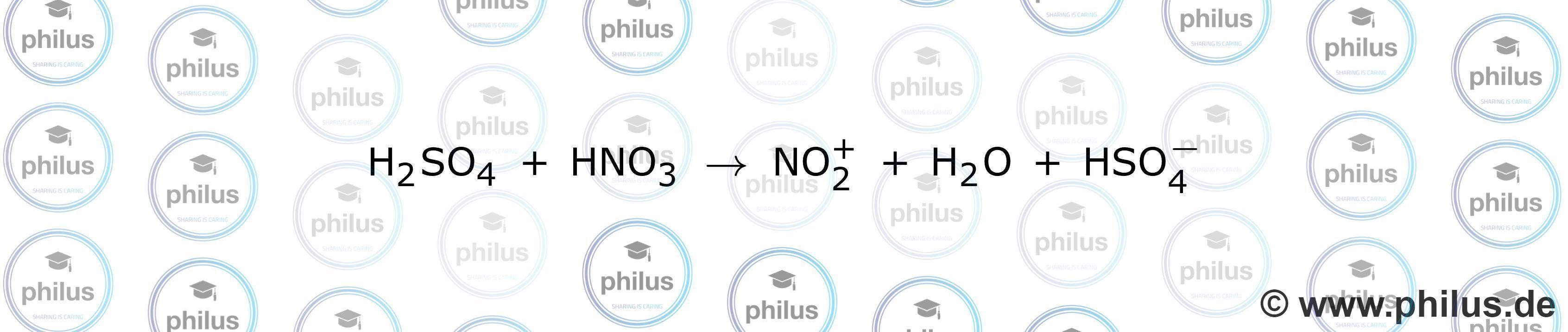 Bildung eines Nitronium-Ions aus Nitriersäure (Summenformel)